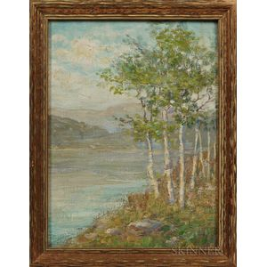 American School, 19th/20th Century      Lake Scene with Foreground Birch Trees