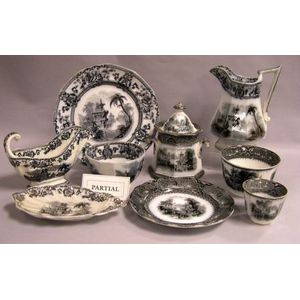 Approximately Eighty-one Piece Assembled Set of English Mulberry Transfer   Decorated Ironstone Dinnerware
