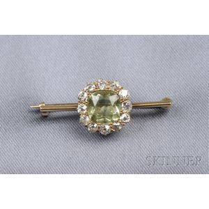 Antique 18kt Gold, Peridot, and Diamond Brooch