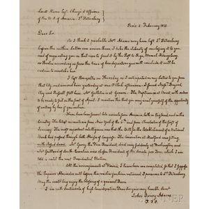 Adams, John Quincy (1767-1848) Autograph Letter Signed, Paris, 5 February 1815.