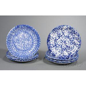 Seven Blue Spongeware Pottery Plates