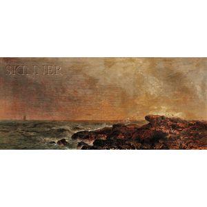 Arthur Quartley (American, 1839-1886)      Rocks Near Gloucester, Mass.