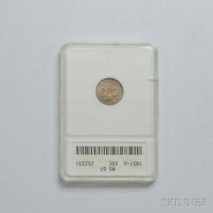 1851-O Three Cent Silver Trime, ANACS MS61.     Estimate $400-600