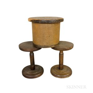 Two Turned Oak Hat Stands and a Pine Hat Form