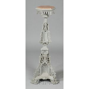 Victorian Gothic Revival Gray Painted Cast Iron and Marble-top Pedestal