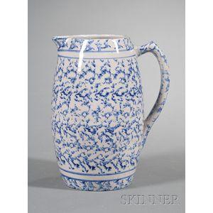 Blue Spongeware Pottery Pitcher