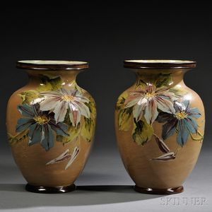 Pair of Doulton Lambeth Impasto Vases