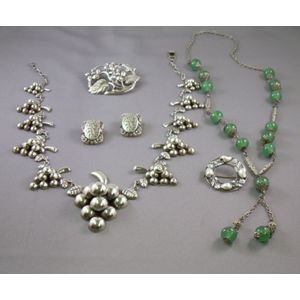 Large Mexican Silver Grape Cluster Necklace, Two Silver Brooches, a Glass Bead Necklace and a Pair of Silverton...