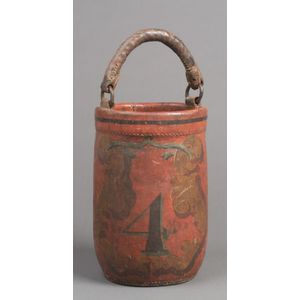 19th Century Red-painted and Decorated No. 4 Leather Firebucket