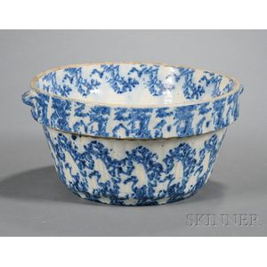 Blue Spongeware Pottery Mixing Bowl