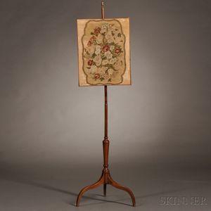 Georgian-style Mahogany and Needlework Pole Screen