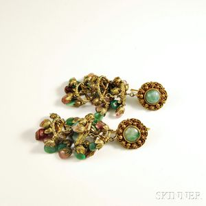 Pair of Vermeil and Tourmaline Chandelier Earpendants