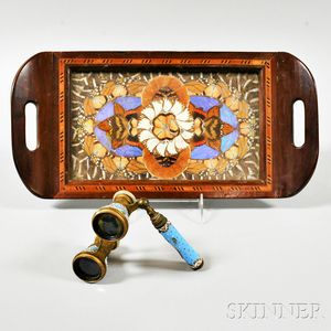 Serving Tray with Inset Butterfly Wings and a Pair of Enameled Opera Glasses