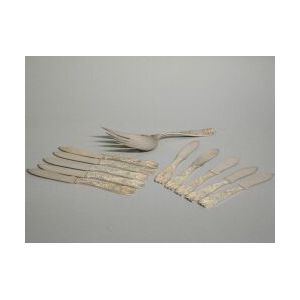 Eleven Pieces of Gorham Silver Plated Flatware from the Ship Flying Cloud.