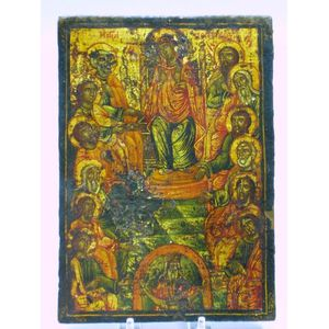 Gilt and Painted Wooden Orthodox Christian Icon