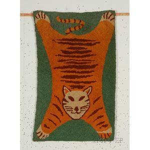 Figural Cotton Hooked Rug with Tiger
