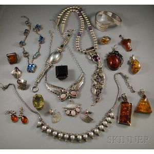 Assorted Group of Mostly Sterling Silver Jewelry