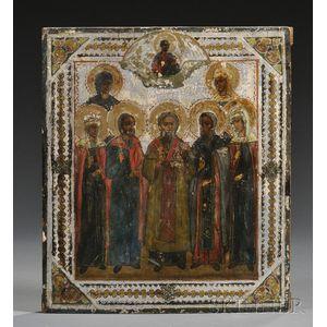 Russian Icon Depicting Seven Patron Saints