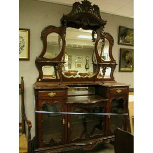 Louis XV Style Glazed Carved Mahogany Mirrored Etagere.