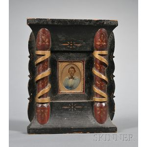 Hand-colored Tintype of a Gentleman in a Carved and Painted Wood Frame with Columns