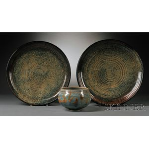 Two Large Vivika & Otto Heino Porcelain Chargers and a Bowl