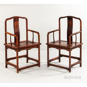 Pair of Hardwood Armchairs