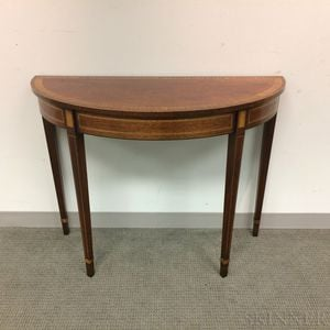 Mahogany Veneer Demilune Side Table