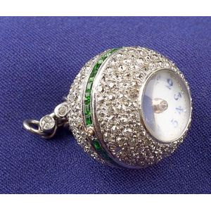 Art Deco Platinum Diamond and Demantoid Garnet Ball Watch