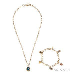 18kt Gold Gem-set Necklace and Bracelet, Anthony Nak