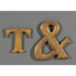 """Gilded Letter """"T"""" and an Ampersand"""
