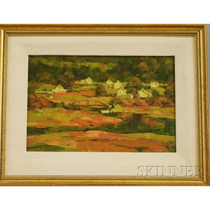Peter Rolfe (American, 20th/21st Century)      Sheepscot Village, Study in Oil