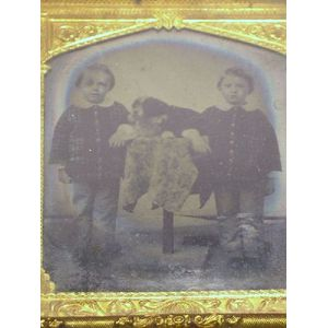 Tintype Portrait of Two Children and Dog