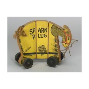 Painted-Wood Spark Plug Pull-Toy