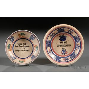 Two Portneuf Pottery Stick Spatter Decorated Bowls with WWI Decoation