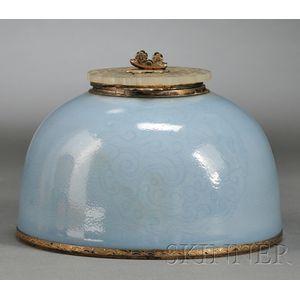 Powder Blue Glazed Inkwell