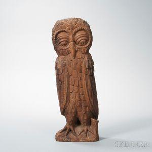 Large Carved Wood Owl Figure