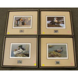 Three Framed Federal and One Washington State Duck Stamp Prints with Stamps