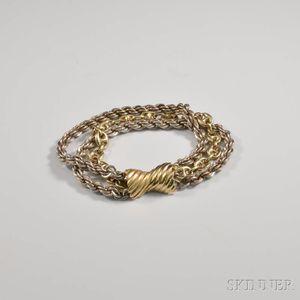 14kt Gold and Sterling Silver Triple-strand Bracelet
