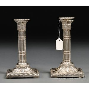 Pair of Victorian Weighted Silver Candlesticks