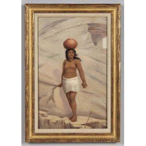 Ottinger, George Martin (1833-1917) Original Oil Sketch for the Cliff Dweller