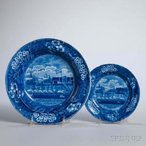 Two Staffordshire Historical Blue Transfer-decorated Landing of Lafayette Plates