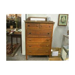 Oak Tall Chest of Drawers.
