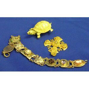 18kt Gold Turtle Brooch, 18kt Gold Cross Pendant and a 14kt Gold Novelty Bracelet.