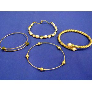 Gold, Pearl and Diamond Bracelet, 14kt Gold and Natural Pearl Bracelet, and Two Others.
