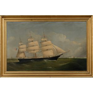 "F. & J. Tudgay  (British, 19th Century)      Portrait of the Clipper Ship ""Emily Farnum"" Off Dover."