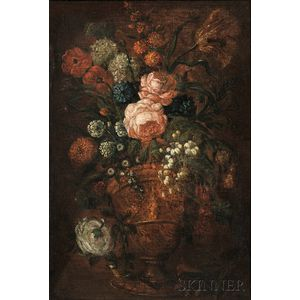 Flemish School, 17th Century Style      Floral Still Life with a Foreground Bird