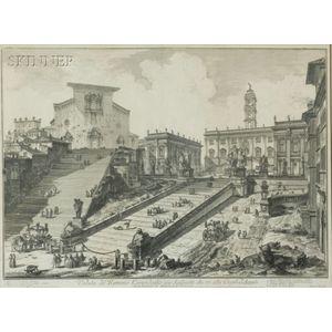 Giovanni Battista Piranesi (Italian, 1720-1778)    Veduta del Romana Campidoglio con Scalinata che va alla Chiesa d