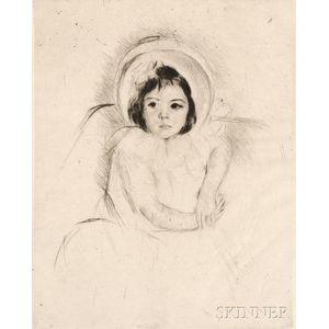 Mary Cassatt (American, 1844-1926)      Margot Wearing a Bonnet (No. 5)
