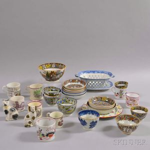 Group of Mostly English Transfer-decorated Ceramic Items
