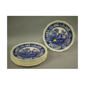 Set of Eight Copeland Spode Blue and White Spodes Tower Pattern Dinner Plates.